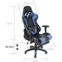 Chaise de Bureau Fauteuil Gamer Siège Gaming Fauteuil Ergonomique (hauteur réglable/pivotante) Bleu