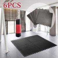 Tapis de Sol de Gym Sport avec 6 Dalles de Protection en Mousse 63 cm x 63 cm Noir