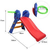 Toboggan Pliable Aire de Jeux pour Enfants en Plastique pour Garçons et Filles de 3 à 8 Ans de Couleur Bleu, Rouge et Jaune 106 x 59 x 77 CM, Charge Max. 50kg