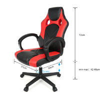 Fauteuil de Bureau PU - Noir/Rouge Chaise de Bureau Ergonomique