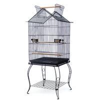 Grande Cage Oiseaux avec Toit Ouvrable Volière à Roulettes pour Canaries Perroquet Perruches Cockatiels, 59*59*145cm, Noir