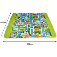 Tapis de Jeu Circuit Voiture de Course Tapis Rampant pour Bébé Enfant Tapis Pique-nique - 130x160x0.5cm