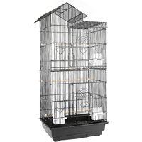 Cage à Oiseaux 46 x 35,5 x 99 cm Poignée Portable 4 Mangeoires 3 Perchoirs Cage pour Perruche Calopsitte Conure Pinson Canaris