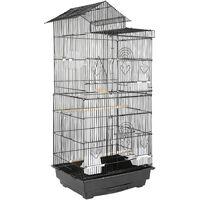 Cage à Oiseaux Poignée Portable 4 Mangeoires 3 Perchoirs Cage pour Perruche Calopsitte Conure Pinson Canaris
