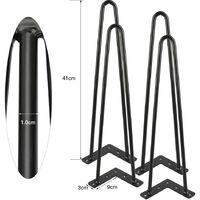 4 Pieds de Meuble Pieds Epingle 41cm Noir 2 Tiges DIY Pieds pour Table Pied de Chaise avec 20 Vis + 4 Protège Pieds