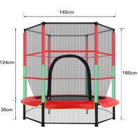 Trampoline de Jardin Premium Trampoline avec Filet de sécurité pour les enfants et les jeunes enfants intérieure / extérieure rouge vert