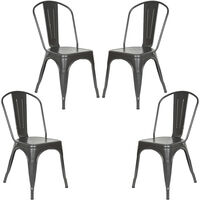 Lot de 4 Chaise de Salle à Manger Rétro, Chaise de Style Industriel, Chaise de Restaurant Chaise Bistro (Gris)
