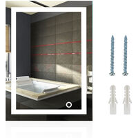 Miroir Mural avec Éclairage LED Interrupteur Tactile Miroir Lumineux pour Salle de Bain 50*70 cm