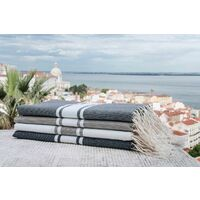 SAINT TROPEZ - Simple traditional fouta - Classic stripe - Medium gray - CLASSIC STRIPE MEDIUM GREY