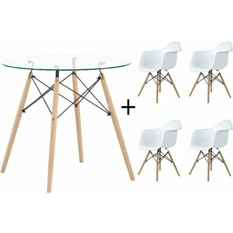 Ensemble salle à manger moderne Scandinave - table Transparent+ 4 Fauteuil blanches