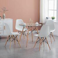 EnsembleTable à manger ronde transparente 80*73cm Scandinave et 4 chaises blanches