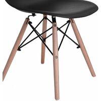 Ensemble Table à manger ronde transparente 80*73cm Scandinave et 4 chaises noir