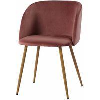 Table à manger ronde transparente Scandinave Φ80*75cm et 2 fauteuils en velours rose 47x 52 x 82 cm