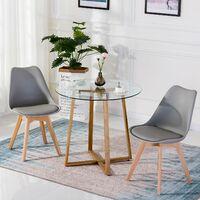 Table à manger ronde transparente Scandinave Φ80*75cm et 4 chaises gris 46x 43 x 83 cm
