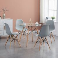 Ensemble Table à manger ronde transparente 80*73cm Scandinave et 4 chaises gris