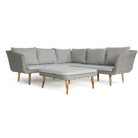 Americana   Modern Corner Sofa with Coffee Table/Large Stool in Grey - Grey