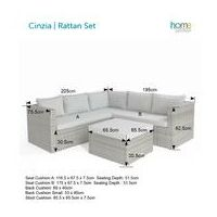 Cinzia   Corner Sofa with Large Stool in Grey Rattan by Home Junction - Grey