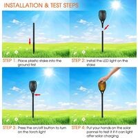 Lumière solaire de torche, lumière de flamme de scintillement de 96 LED allume les,allées de jardin / cour extérieure (lot de 4)