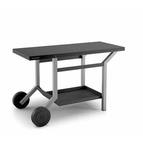 TABLE ROULANTE ACIER NOIR ET GRIS CLAIR L1191XP648XH760MM