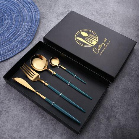 betterlife Cutlery Set Stainless Steel Western Steak Cutlery Set Green 4 Piece Set