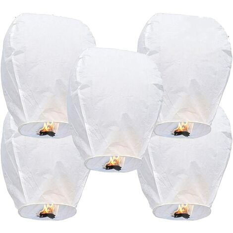 5 Chinese sky lanterns Lanterns in biodegradable ecological fireproof paper for the liberation of the sky (5 sets, white))