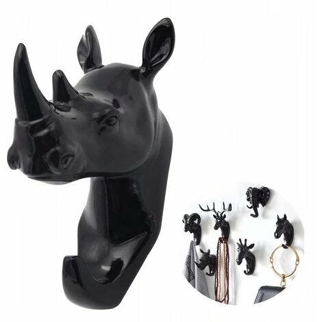 Coat holder and towel rack Wall-mounted hook Key coat carrier Black Rhino (