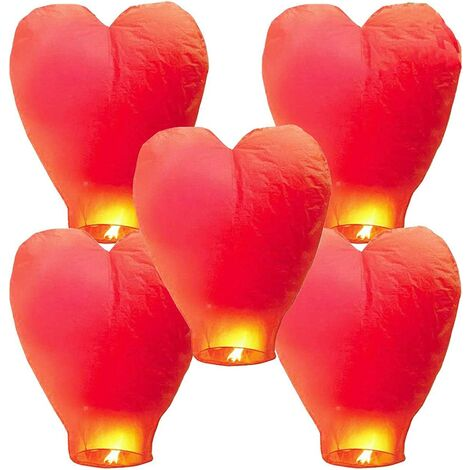5 Chinese sky lanterns Lanterns in biodegradable ecological fireproof paper for the liberation of the sky (5 sets, red))