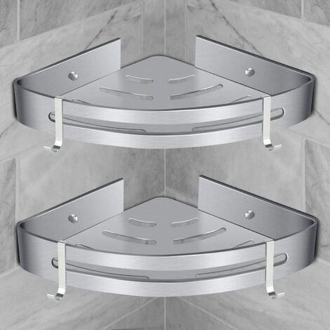Corner Shower Shelf Bathroom Shelf Without Drilling Basket Shower Storage Aluminum Wall Shower Shelf Storage Box Two Pieces Silver (2 * PCS)