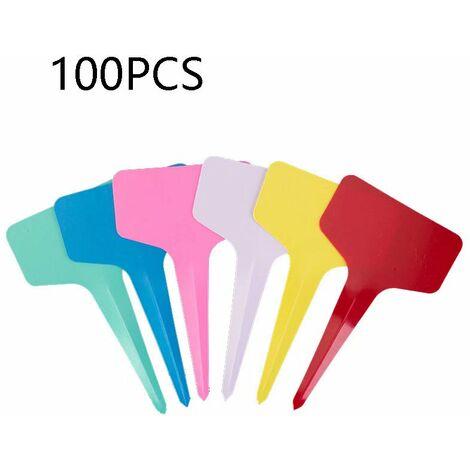 Flower label, garden label, plant label, t (100 pieces) label in random colors