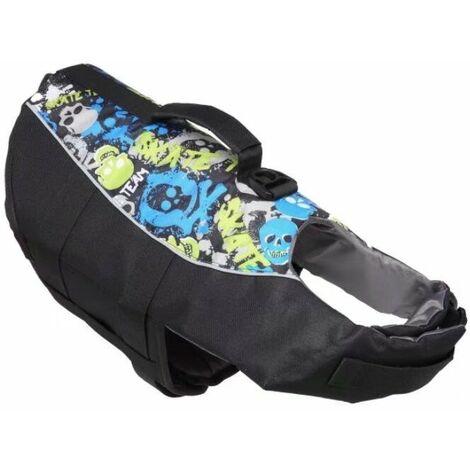 Swimsuit for pets, lifejacket, reflective swimsuit Mermaid for pets, whale dog swimsuit, (JSY08 black) m