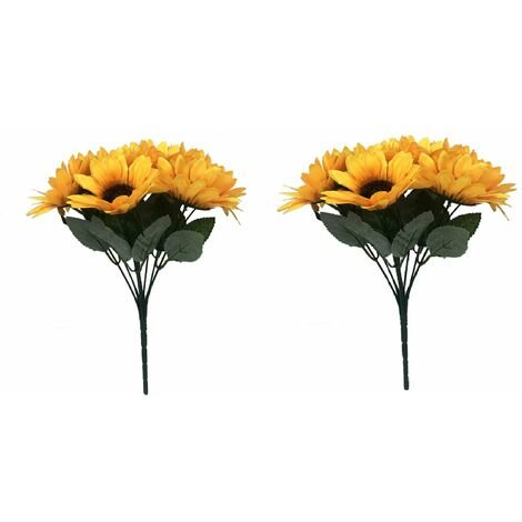 Artificial plants, artificial flowers, artificial flowers, ten teeth sunflowers, artificial plants, garden sunflowers and green plants decoration (* 2)
