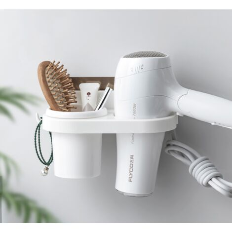 Hair Dryer Support Free Punching Bathroom Shelf Suction Cup WC Hair Dryer Holder Storage Holding Wall Hair Dryer Shelf Hanger
