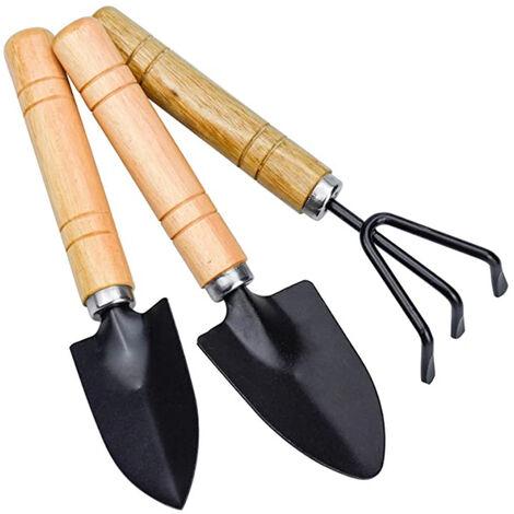 3pcs mini garden tools, set of small rakes and shovel, small shovel rake and spade wooden handle for garden pot soles outdoor indoor plants