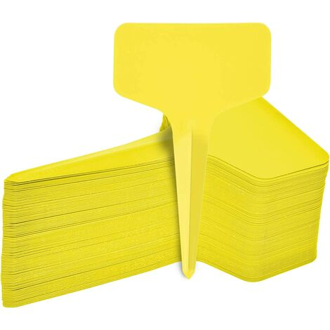 100pcs Durable Plant Tags, T-Type Labels Plants Waterproof Garden Labels, Plastic Garden Tags Signs for Flower Vegetables Seed Garden Nursery 6 x 10cm (Yellow)