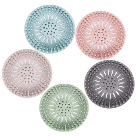 Filter Hair Shower, Catch Hair Shower Filter Sink Bathtub Silicone Shower-Cap Rubber Bathroom Kitchen 5 Pieces