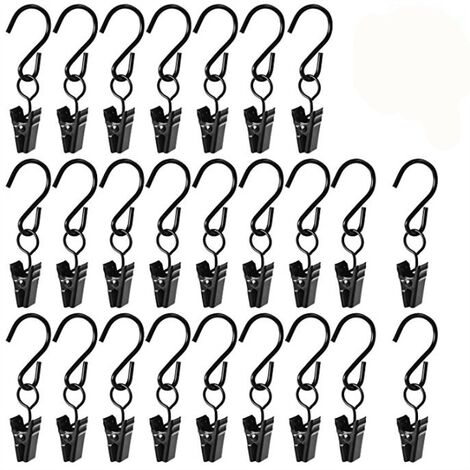 Plastic Hangers with Pincer 25pcs Hook Hanging Boots Black Hook Metal Curtain Staples For Shoes Socks Curtain Boots Towel Hangers