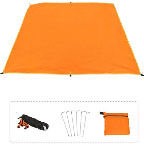 Camping Tarp Hammock Rain Fly Sun Shelter Tent Groundsheet Waterproof Windproof Lightweight Portable Sunshade Basha Fly Sheet Tarpaulin Mat for Camping Hiking Beach Awning Outdoor(180*220cm)