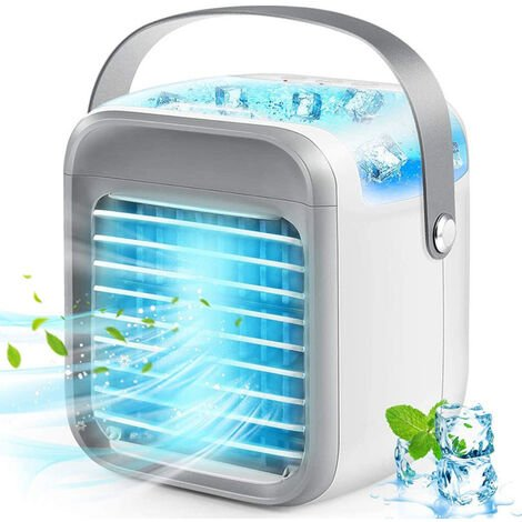 Mini Air Cooler, 4 in 1 Portable Mini Air Condition, Air Cooling Fan, Humidifier, Purifier with 3 Adjustable Speeds USB Rechargeable, Mobile Air Conditioning Unit for Home Office