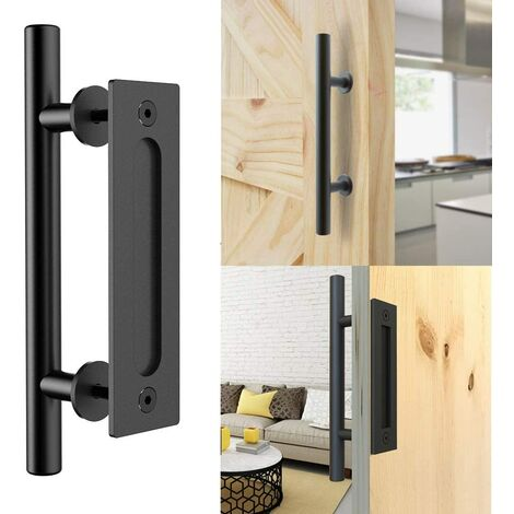 Retro Black Sliding Door Handle Aluminum Pull and rinse the sets of handles for wooden sliding door, 30cm