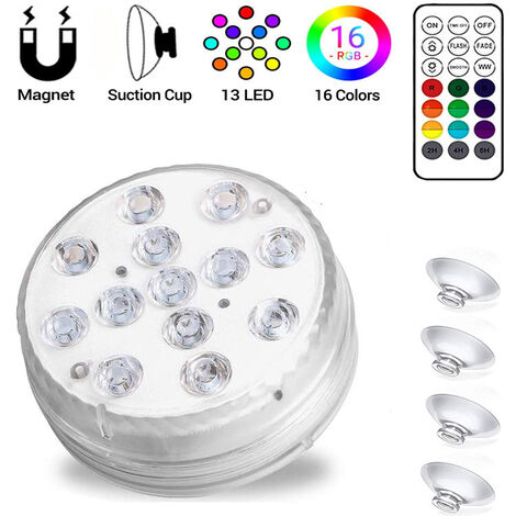 Hot Tub Lights, Pond Lights Waterproof, Pool Lights Underwater with 15 LED Beads, 16 Colors Bath Spa Lights, Submersible LED Lights for Garden Swimming Pool Fish Tank Tub Decorations(1 Pack)