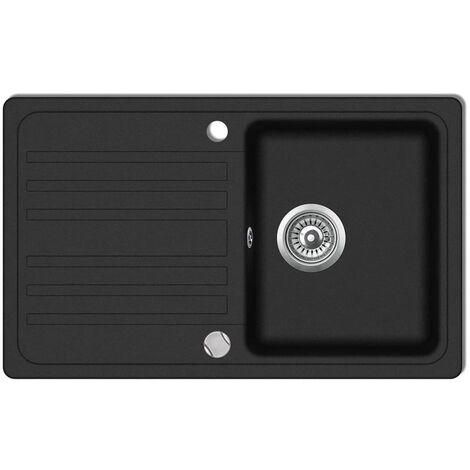 Granite Kitchen Sink Single Basin with Drainer Reversible Black3469-Serial number