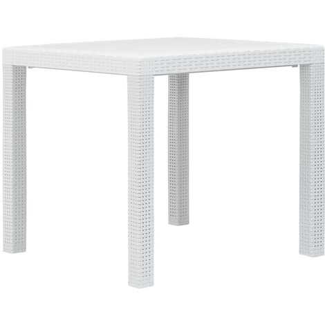 Garden Table White 79x79x72 cm Plastic Rattan Look32271-Serial number