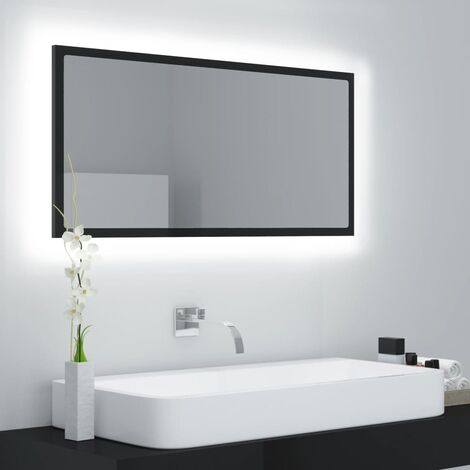 LED Bathroom Mirror High Gloss Black 90x8.5x37 cm Chipboard37602-Serial number