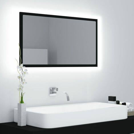 LED Bathroom Mirror Black 80x8.5x37 cm Chipboard37589-Serial number