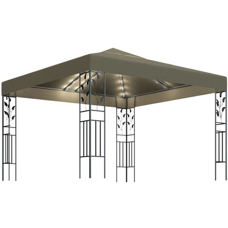 Gazebo with String Lights 3x3 m Taupe 180 g/m虏21530-Serial number
