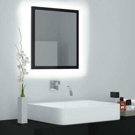 LED Bathroom Mirror High Gloss Black 40x8.5x37 cm Chipboard37578-Serial number