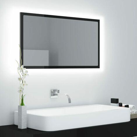 LED Bathroom Mirror High Gloss Black 80x8.5x37 cm Chipboard37594-Serial number