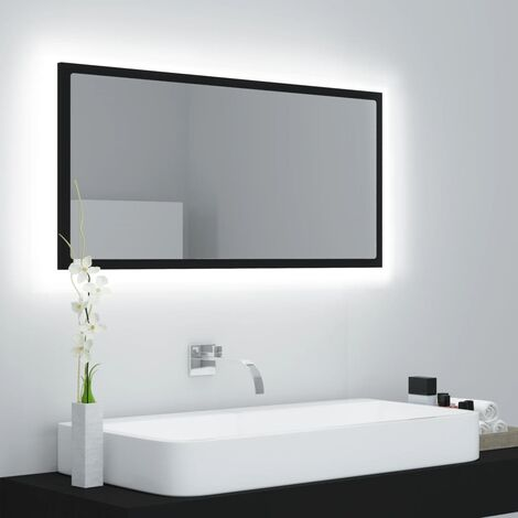 LED Bathroom Mirror Black 90x8.5x37 cm Chipboard37597-Serial number