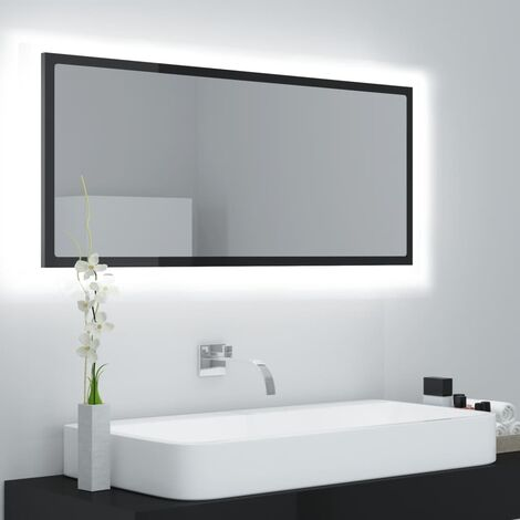 LED Bathroom Mirror High Gloss Black 100x8.5x37 cm Chipboard37610-Serial number