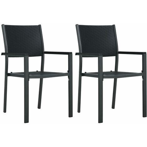 Garden Chairs 2 pcs Black Plastic Rattan Look33341-Serial number
